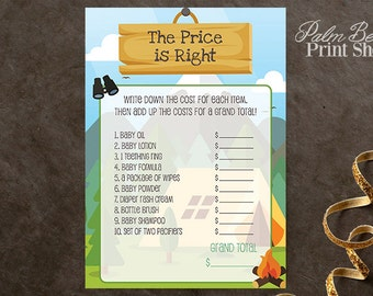 The Price Is Right Camping Baby Shower Printable Game