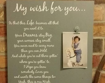 My wish for you, family, children, photo gallery, hand painted, wood sign, home decor, country music, song lyrics, photo holder