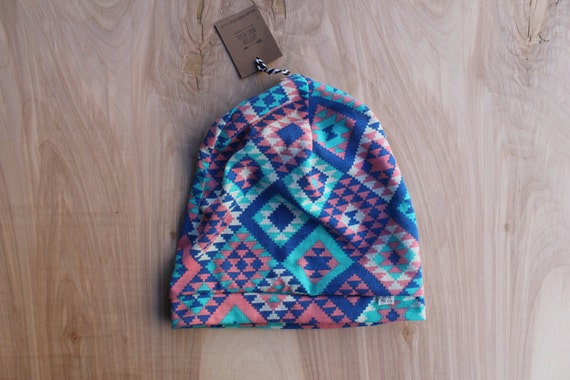 Baby slouchy beanie- Aztec pink blue teal- slouchy hat- baby slouchy toque- hipster baby clothes- trendy baby clothes- gender neutral
