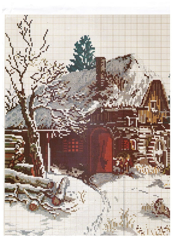 Scandinavian Counted Cross Stitch Kit, Cabin in the Woods Scene, Vintage Easy Cross Stitch
