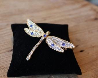 Rhinestone Dragonfly Brooch Pin
