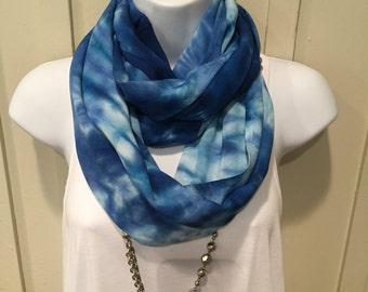 Tye dye scarf, Monmouth University themed scarf, Hand dyed infinity scarf, Rayon infinity scarf, Tie dyed infinity scarf