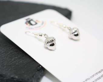 Silver Acorn Earrings, Friend Gift, Cute Earrings, Silver Charm Earrings, Woodland Jewellery, Nature Jewellery, Acorn Jewellery,