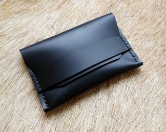 Smooth Black Flap Wallet