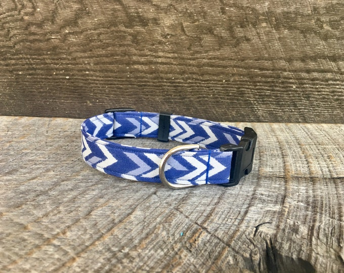 Navy Chevron Dog Collar