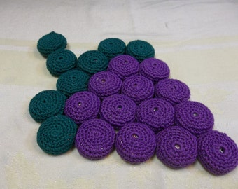 Vintage Crochet Grape Trivet, Two Available, S