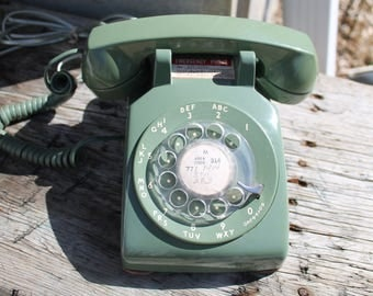 Vintage Rotary Green Phone, Southwestern Bell Telephone, Brown Rotary  Avocado Rotary Phone, Green Phone, Man Cave, Office Accessory