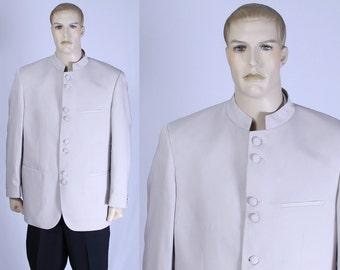Vintage 80s Men's Tan Nehru Blazer - Lucci - Size 42R - Covered Buttons - 8 Button Front - Nehru Collar - Mandarian Collar