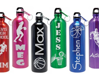Personalized BASKETBALL Water Bottles Stainless Steel Water Bottle Custom Laser Engraved BPA Free Name-Eco-friendly 6 Colors Choice of Image