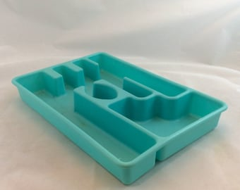 Vintage Silverware Tray in Turquoise Blue, Rubbermaid Kitchen Utensil Tray