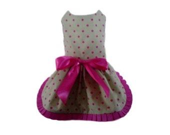Dog Dress, Dog Clothing, Pet Clothing, Small Dog Dress, Pet Dress - Green and Pink Polka Dot