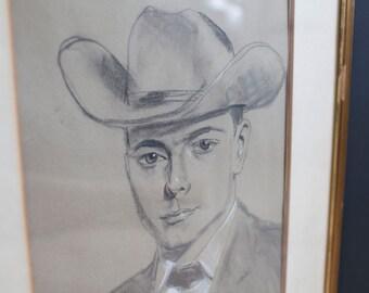 Vintage Charcoal Sketch - Man in Cowboy Hat 1962 Signed David Hunt - Framed in Austria - Mid-Century Art Wall Hanging Amateur Artist