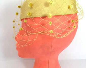 Pillbox Hat Yellow Pillbox Hat Veil Pillbox Hat Bows Pillbox Hat 1940s Hat Theater Set