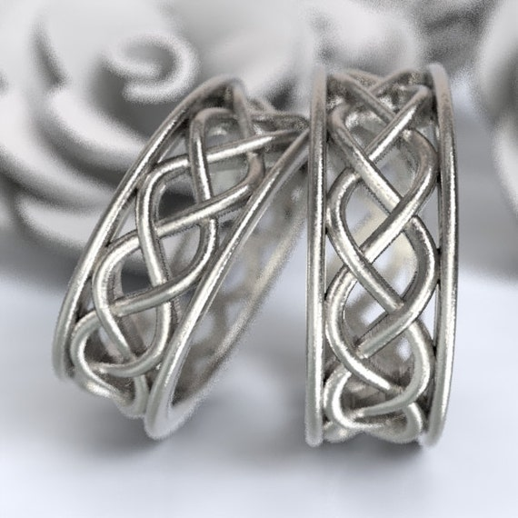 Celtic Wedding Ring Set With 3 Cord Braided Knotwork Encased in Rails Design in Sterling Silver, Made in Your Size CR-271