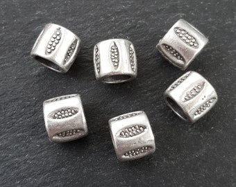 Large Barrel Tube Beads Dotted Ellipse Detailed Tribal Ethnic Matte Antique Silver Plated Spacers Turkish Jewelry Supplies Findings - 6pc