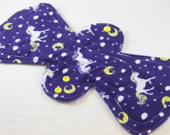 "Reusable Cloth Pad - 13"" (33cm) Overnight/Postpartum with Double Flare - Unicorns Flannel"