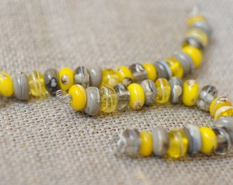 20 Gray Yellow Handmade Lampwork Spacers Multicolor Mix Beads