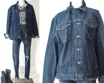 90s 90s Clothing 90s Grunge Made in USA Made in the Usa DENIM Jacket Jean Jacket WRANGLER Jeans Wrangler Jacket Wrangler Denim Jacket Grunge