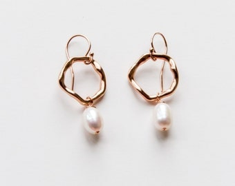 Rose Gold Filled Pearl Hoop Earrings