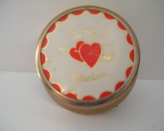 Musical Powder Box  Plays Let Me Call You Sweetheart by D I Alpen  Mid Century Metal Box sentimentTo My Valentine great Romantic gift