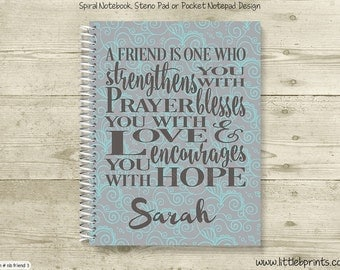 Friend Pray Love Hope Personalized Spiral Notebook Journal Prayer Journal Diary