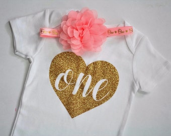 First Birthday Onesie, First Birthday Bodysuit, Gold and pink sparkle outfit, Baby Girl First Birthday, pink and gold