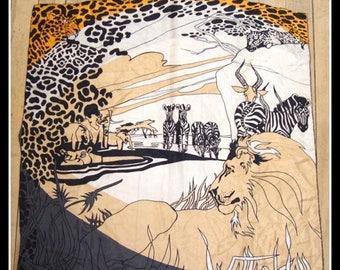 ON SALE vintage 1970s silk scarf,  wild animal print,  African print, lion, leopard, elephant,zebra, antelope, made Japan, by Accessory Stre
