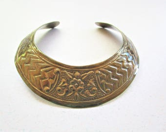 Vintage Brass Choker Collar Necklace Flower Line Design Made in India Mid Century