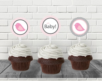 "Pink Bird Baby Shower 2"" Printable Cupcake Topper - Printable PDF- Instant Download - Immediate Download"