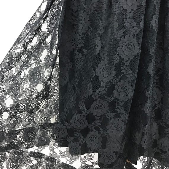 "Vintage lace skirt black lace full flared 1989s madonna lacy rock n roll goth girl pin up macabre 26"" waist 50s rockabilly"
