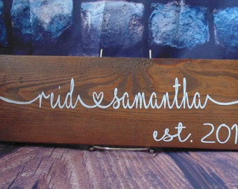 Wedding Name Plaque, Wooden Sign, Family Sign