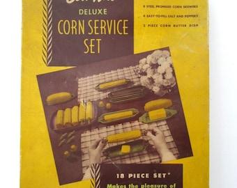 MIB 1950 Corn-On-The-Cob Service Set MCM California Plastic18 pieces … So Cool!