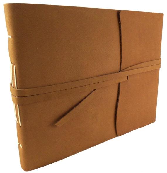 Photo Albums 8x10: LARGE Genuine Leather Photo Album Scrapbook Rustic Antique