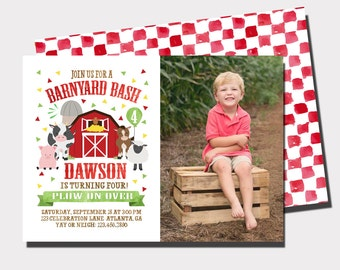 Barnyard Bash Birthday Invitation | Farm Birthday Invitation | Animal Birthday Invitation | Fall Birthday Invitation | Petting Farm