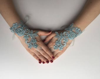 BRIDAL GLOVES! Turquoise gloves, Beach wedding , Bridal accessory, Foot jewelry, Wedding gloves, Express Shipping.