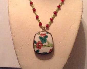 Chinese Flower Pottery Shard pendant on a beaded necklace