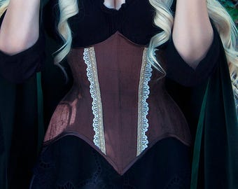 Brown corset underbust wood efect - waist training - steampunk - fantasy