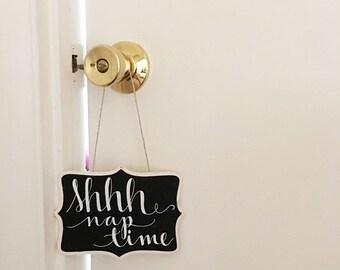 Baby sleeping sign, baby door hanger, new mom gift, unique baby gift, new baby gift, small gift under 15, hand lettering, chalkboard sign