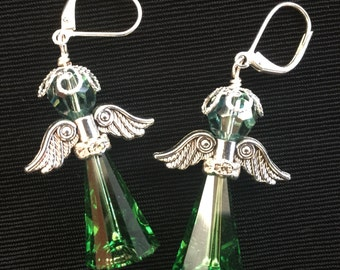 Green Angel Earrings Silver