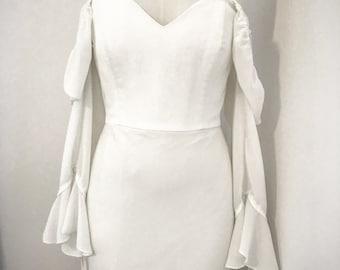 Strapless boho style wedding dress