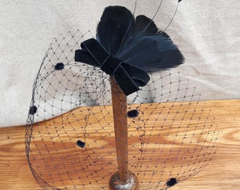 black veil bridal headpiece bird cage bride vintage feathers velvet bow elegant fascinator wedding bridesmaids black gothik