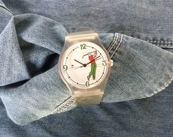 Vintage Men's Glycine Watch, Novelty Watch, Golf Watch With Semi Transparent Strap, 1980s Watch