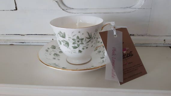 Tea cup candle. Scented soy wax vegan vintage tea cup candle, scented with pink lemonade. Vegan candles. Organic soy. Made in Wales