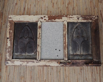 Redone Vintage Window Frame Message Center/Bulletin Board Chippy Paint Tin Ceiling Panels