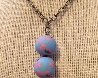 """16"""" PowderBlue&BlushPink Double Bead Floral Beaded Necklace"""