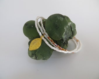 Dainty beaded bracelet Czech glass gold leaf charm charm bracelet