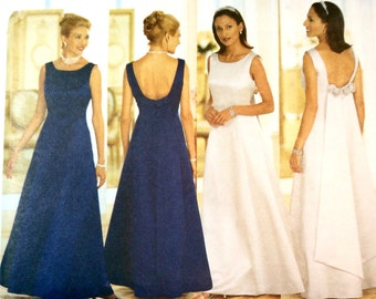 Butterick 5875, Wedding Gown, Bridesmaids' Dress, Prom Dress, Evan Picone Formal Dress Pattern, Size 6, 8, 10, Uncut Pattern