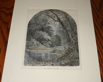 Moss Islands, In the Juniata-- Print with Mat - Woodcut 1874