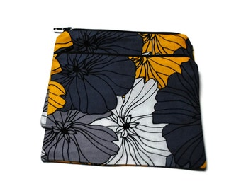 Reusable Snack Bags Set of 2 Zipper Yellow Gray Black Floral Flowers