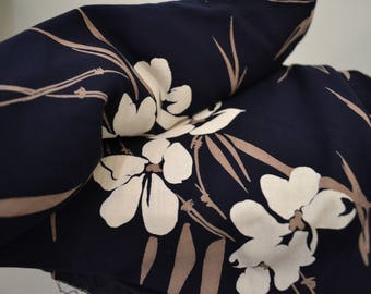"""1980's Vintage Navy Challis Rayon with Bamboo Floral Print in White and Beige  by 3 Yards 15"""" by 45"""" wide gorgeous hand and drape"""